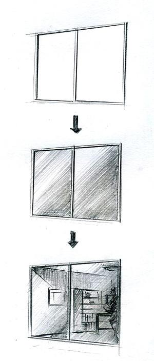 手描きパース描きます、デザインオフィスアングル窓の描き方