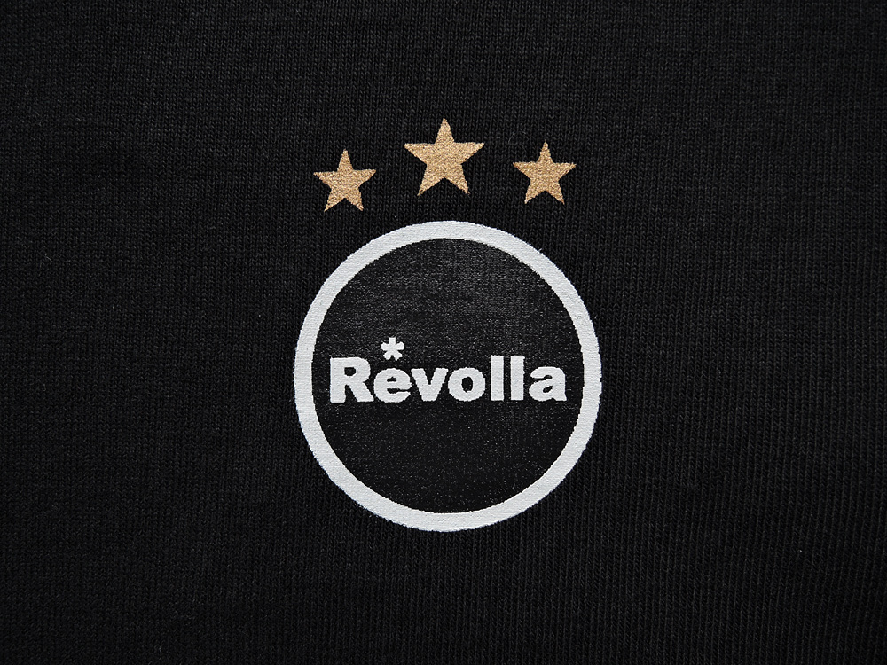 REVOLLA しっかりタフな生地の型崩れしにくい サイドパネル付き 檜垣(ひがき)デザインTシャツ(ブラック/ホワイト) size:【S〜XL】
