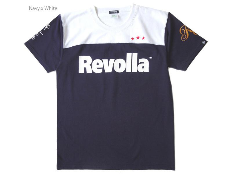 REVOLLA しっかりタフな生地の型崩れしにくい フットボールTシャツ(ブラック/ホワイト) size:【S〜XL】