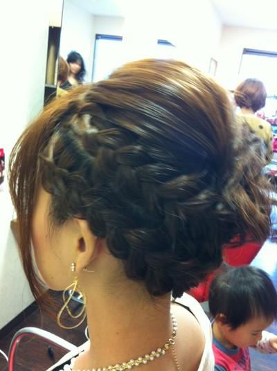 結婚式髪型ミディアム 編みこみ|但??Sola Day's但??:巽袖?奪息?奪村?達?損達??達??|髪型